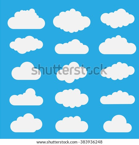 Set of blue sky, clouds. Cloud icon