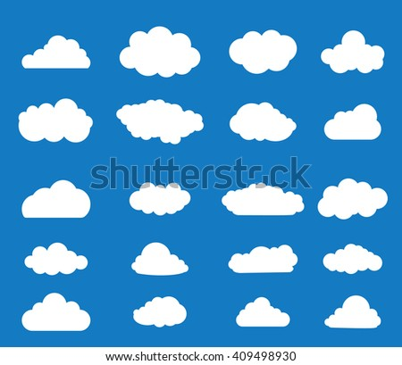 Set of blue sky, clouds. Cloud icon, cloud shape. Set of different clouds. Collection of cloud icon, shape, label, symbol. Graphic element vector. Vector design element for logo, web and print. - stock vector