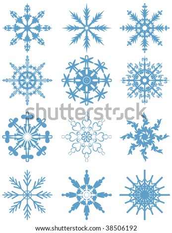Set of blue snowflakes.  vector illustration - stock vector