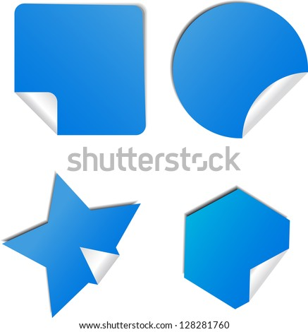 Set of blue stickers with shadow - stock vector