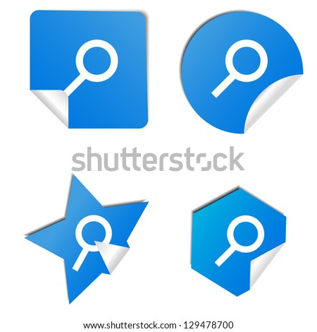 Set of blue stickers with sign search