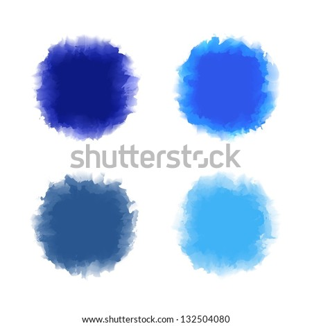 Set of blue tone water color drop for brush, textbox, background, design element - stock vector