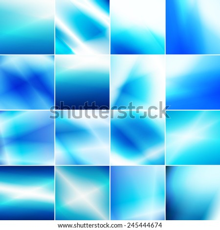 Set of blue toned backgrounds. Illustrated vector bundle. - stock vector