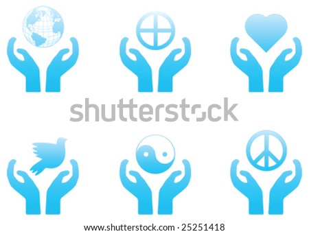 set of blue vector peace and spirituality themed icons - stock vector
