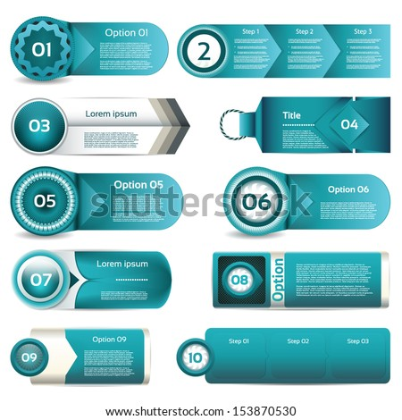 Set of blue vector progress, version, step icons. eps 10 - stock vector