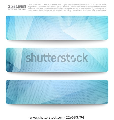 Set of 3 blue vector web banners. Abstract vector polygonal bright background. Vector web buttons. Design vector elements - stock vector
