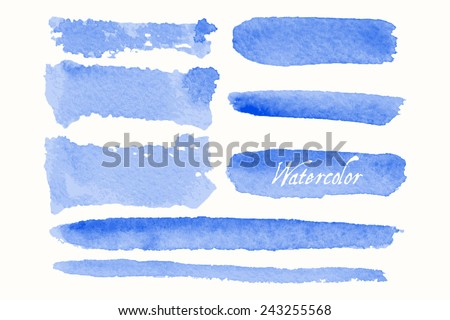Set of blue watercolor blobs and spots, isolated on white background. Blank watercolor colored shapes, web buttons for trendy design of your website. - stock vector