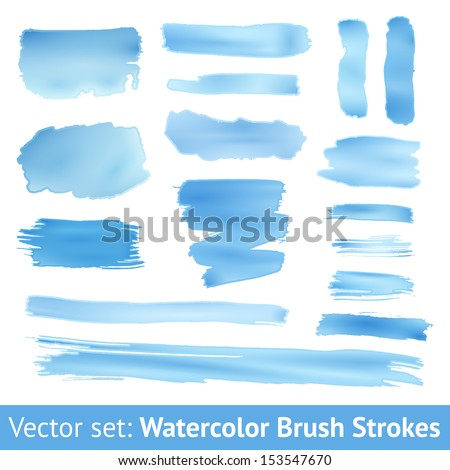 Set of blue watercolor brush stroke isolated on white background. Vector illustration for grunge design. Hand painted stain. Gradients with overlay. Size can be increased with quality preservation - stock vector