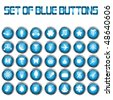 Set of blue web buttons - stock vector