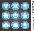 set of blue web icons on a metallic background - stock vector