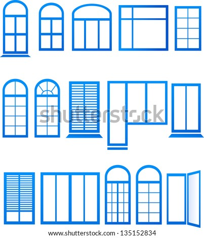 Set of blue window icons on white background - stock vector
