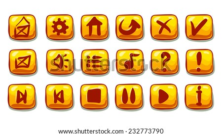 Set of blue yellow buttons,menu elements for web or game design - stock vector