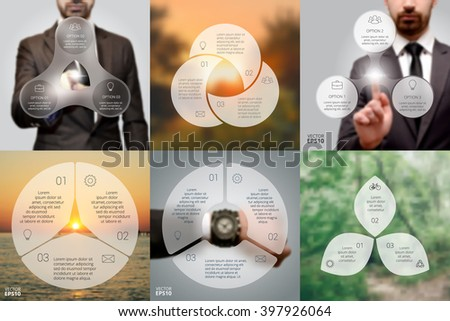 Set of blur infographic. Business concept with 3 options, parts, steps or processes. Linear graphic. Blur vector background. Businessman, watch, sunrise and eco. - stock vector
