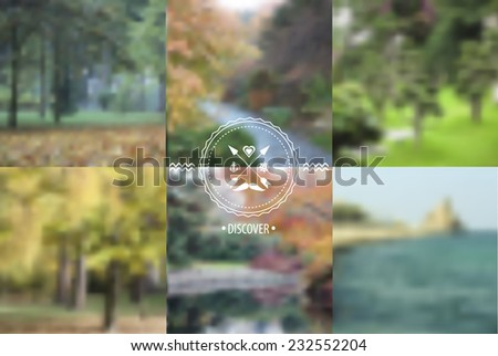 Set of blurred landscapes with badge. Web,mobile interface template, website template. Blur backdrops and badge with anchor and arrows. Ecological and green.Vector