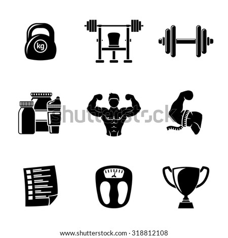 Set of Bodybuilding icons with - dumbbell, weight, bodybuilder, scales, gainer, shaker, measuring, barbell, schedule, goblet. Vector - stock vector