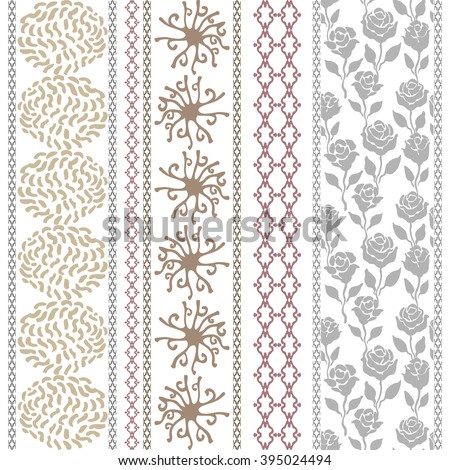 Set of bohemian borders with cosmology motifs. Hand drawn dotted galaxies, sun symbol, rose seamless pattern, geometric stripes. Vintage textile collection. Golden, silver shadows on white.  - stock vector