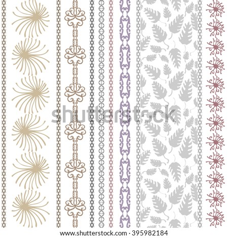 Set of bohemian borders with floral motifs. Hand drawn seamless leaves pattern, sun symbol, damask border, geometric stripes. Vintage textile collection. Golden, silver shadows on white.  - stock vector