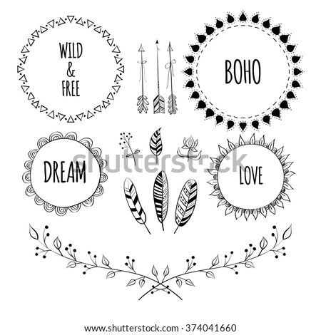 Set of Boho Style Frames and hand drawn elements. Hand drawn sign in boho style with arrows and feathers. Set of Ornamental Boho Style Elements. Vector illustration. - stock vector