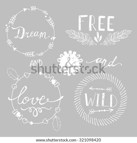 Set of Boho Style Frames and hand drawn elements with retro effect. Vector illustration.  - stock vector