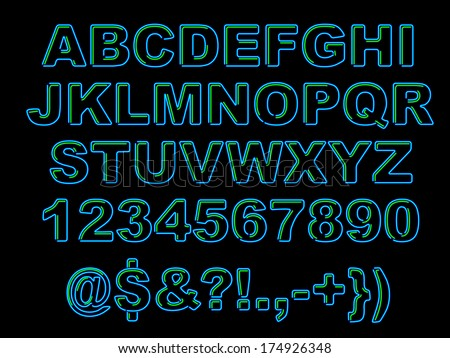 Set of bold blue neon letters with green accents