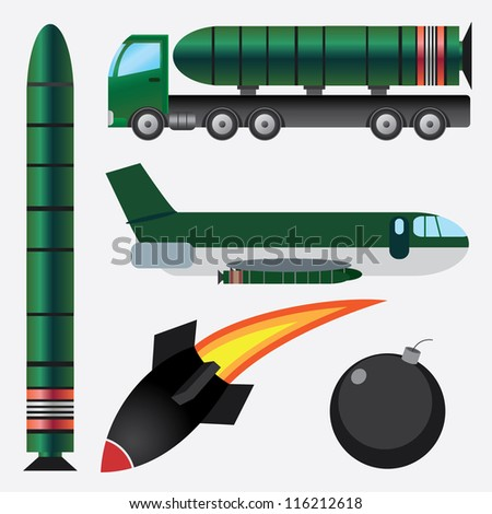 Set of bombs and missiles on the white background. - stock vector