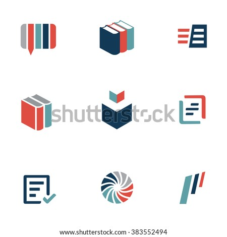 Set of book and language icons. Translation services and dictionary concept. - stock vector