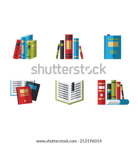 Set of book icons in flat design style vector illustration - stock vector
