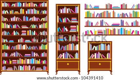 Set of bookcases and shelves. vector - stock vector