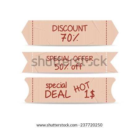 set of bookmarks sticker tags retro - stock vector