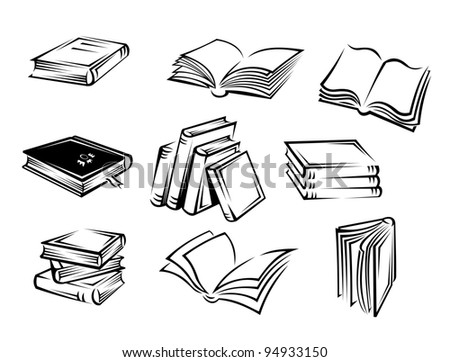 Set of books and magazines for design. Vector illustration - stock vector