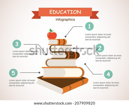 set of books, back to school infographics - stock vector