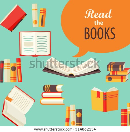 Set of books - design for book publishing, the concept of learning in school or University. Flat style, vector illustration. - stock vector