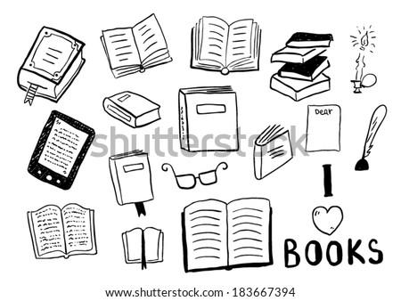 Set of books doodles - stock vector