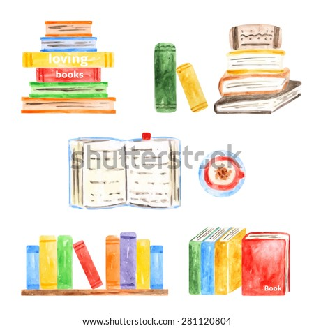 Set of books icons made in watercolor technique, school, university, modern, vintage books collection  - stock vector