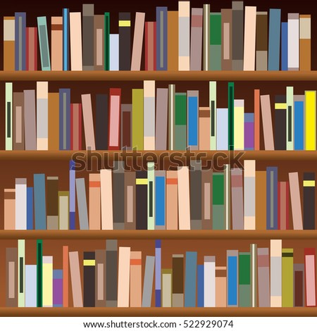 set of bookshelves vector flat illustration books on wooden bookshelf - Picture Of Book Shelf
