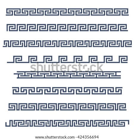 Set of border decoration elements seamless patterns in Greece style. Vector collection