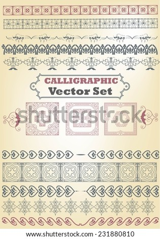 Set of borders, decorative elements for design