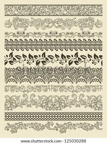 Set of borders in vintage style - stock vector
