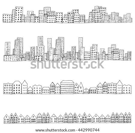 Set of 4 borders of european, dutch, urban houses. Hand drawn doodle city street sketch. Ink illustration. - stock vector