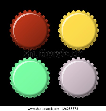 Set of bottle caps in colors isolated on black  background, vector illustration - stock vector