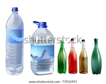 set of bottles mineral and fruit's water - stock vector