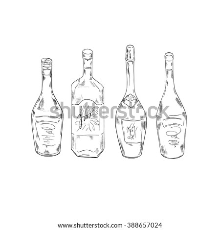 Set of bottles with alcohol drinks on white background. Cartoon sketch drawn by ink. Hand drawn vector illustration.