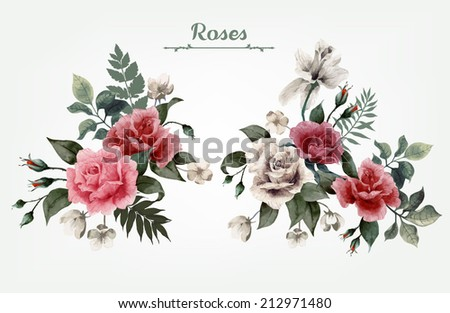 Set of bouquets of roses, can be used as greeting card, invitation card for wedding, birthday and other holiday and  summer background - stock vector