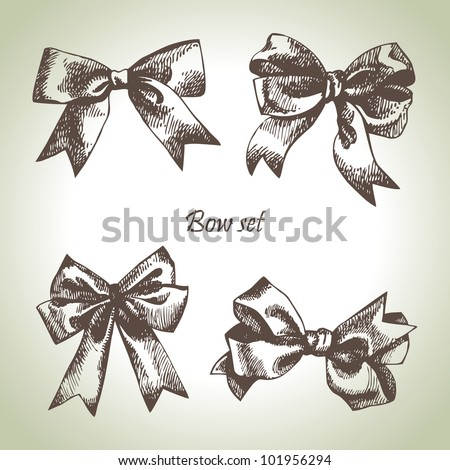 Set of bow. Hand drawn illustrations of ribbons - stock vector