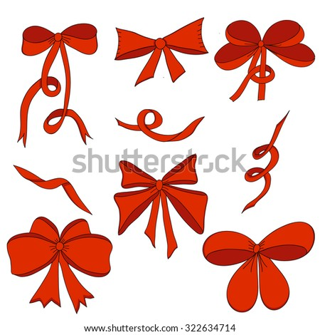 Set of bows and satin ribbons. Red. Isolated on white background. Design element for invitation, gift, greeting card, website, packaging, etc. Vector illustration. - stock vector