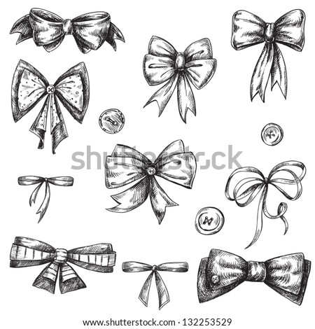 Cute Bow Tie Drawing Set Bows Hand D...