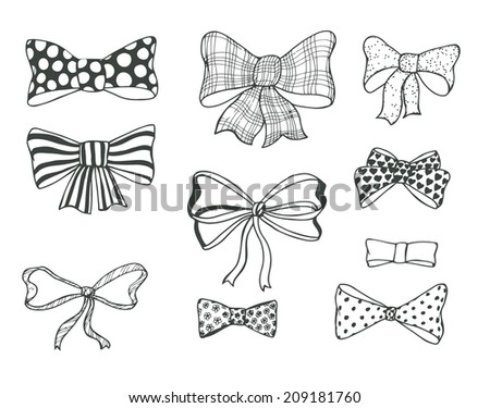 Set of bows, hand drawn vector illustration - stock vector