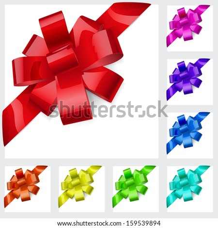 Set of bows made of shiny multicolored ribbons. Decorations for a gifts. - stock vector