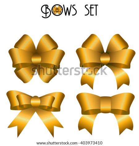 set of bows of ribbons on a white background isolated. Decorative gift bows birthday, christmas. Gold bows