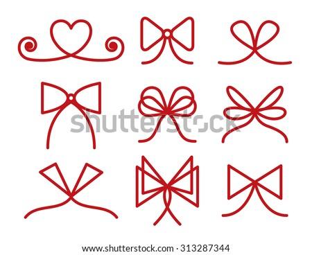 Set of bows, strokes editable - stock vector